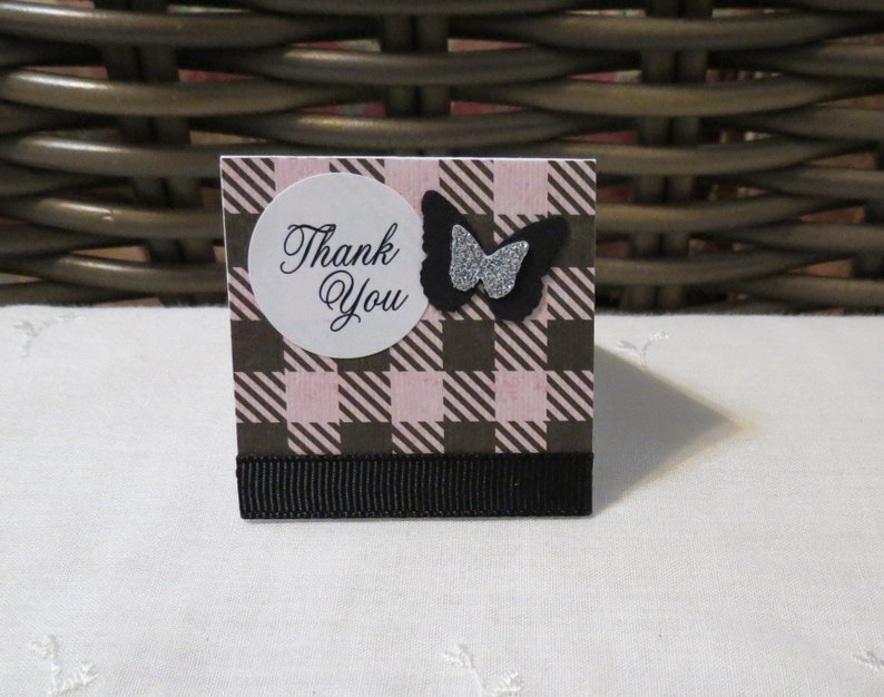 Pink and Black Plaid Mini Thank You Cards with Butterflies Handmade Set of 50