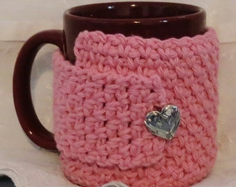 Pink Crocheted Cotton Mug Cozy with Silver Heart Button