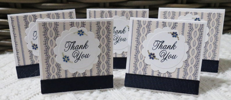 Navy Blue and Ecru Mini Thank You Cards Lacy Stripes Handmade Set of 30