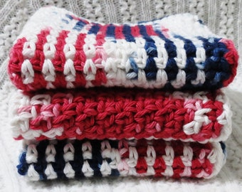 Red, White and Blue Handmade Crocheted Cotton Wash Cloths Set of Three
