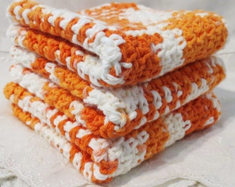 Wash Cloths, Cotton Crocheted, Creamsickle Orange and White Ombre Set of Three, Dish Cloths, 9.25 inch
