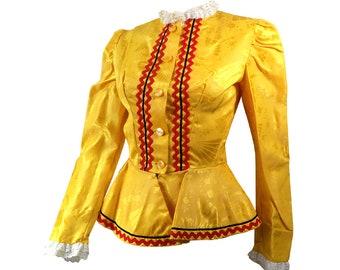 Vintage Sunshine Yellow Damask Jacquard Peplum Jacket, Blouse, Size Small