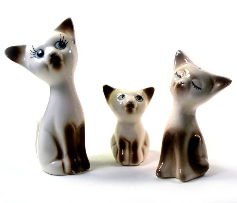 18baa480e7637 Vintage 3 Piece Siamese Cat Ceramic Salt & Pepper Shaker, Condiment Mustard  Bowl Set
