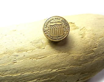 Vintage early 1900s WWI era American Red Cross Button, Blood Donor Pin