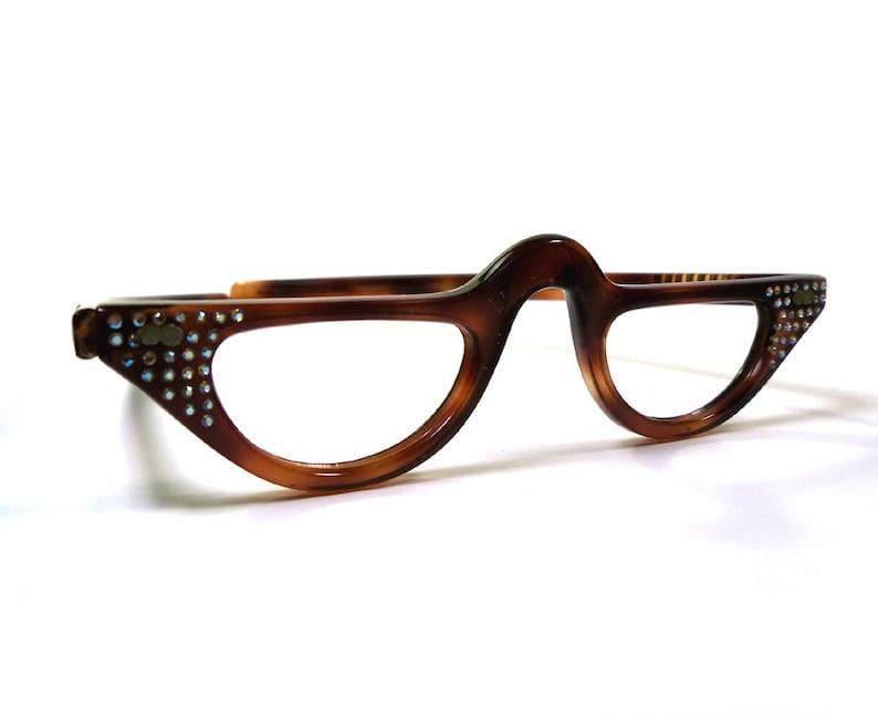 3621a8aed2c9 Vintage 50s Rhinestone Cateye Eyeglasses Glasses Half Frames