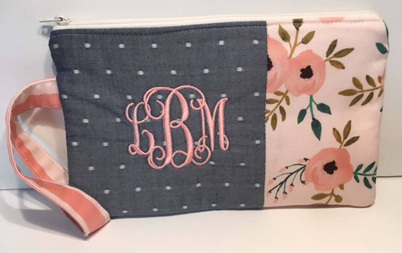 97be7c4cd0266 Monogrammed Floral and Chambray Clutch Wristlet Summer Clutch