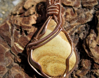At the Beach///Picture Jasper and Copper Wire Wrap  Pendent, Handmade, Art, One of a Kind