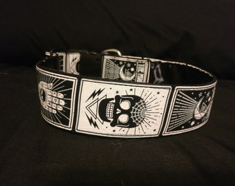 Moon and Cat Tarot Card Dog Collars 2-Inches Wide
