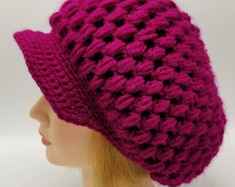 Boysenberry Hat Womens Boysenberry Slouchy Hat Womens Slouchy Hat Womens Crochet Newboy Visor Hat Ready to Ship