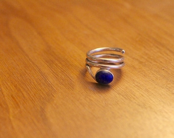 Silver coiled ring with Lapis Lazuli stone