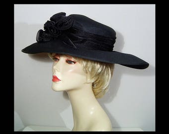 fd5b65c5634e New with tag Smith and Caughey jet black organza satin platter hat ~ 21.5