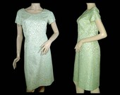 1960s brocade coat dress set Medium Large creamy green w icy satin pale blue flowers Randy Juniors Made in Canada mint condition