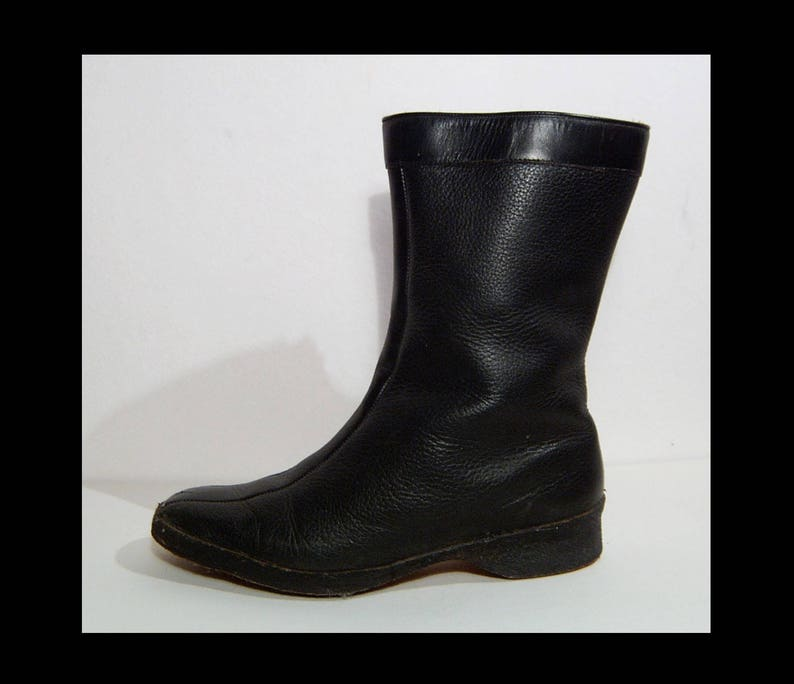aee4a37b1f3a4 Mod des années 60 Dubleens noir bottes de pluie de neige