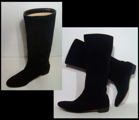 Size 7 ~ 1960s tall knee high jet black suede leat