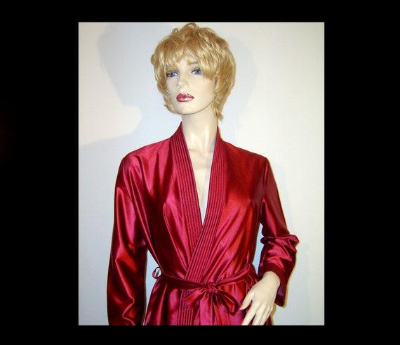 Medium ~ long burgundy liquid satin belted robe ~