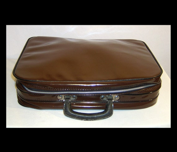 Unusual chocolate brown & black vinyl small suitca