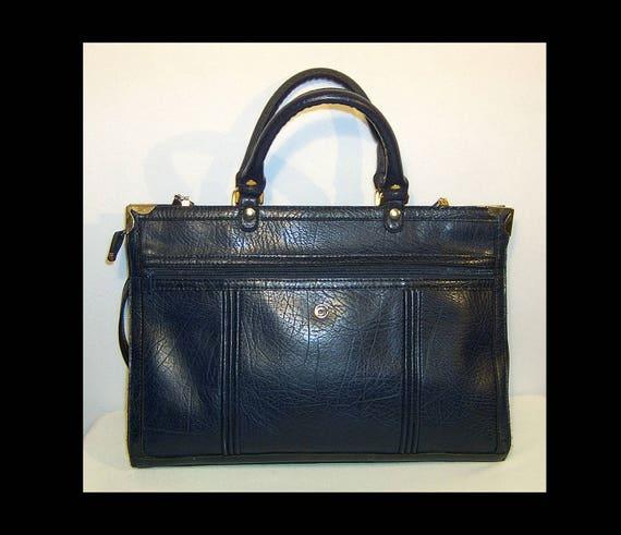 Indigo blue vegan briefcase bag ~ cross body ~ Cor