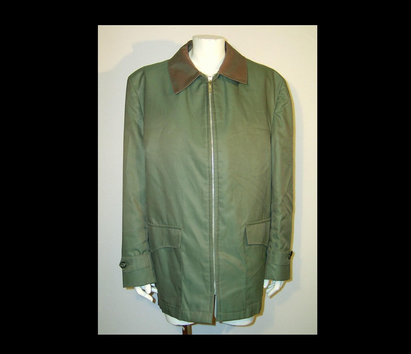 Moyen grand ~ ~ grand coton vert fermeture éclair hommes veste de chasse corvée avec fausse fourrure zippée à doublure ~ Croydon Made in Canada ~ Rabat poches ceintures côté 970892