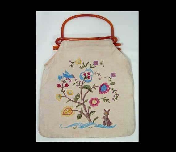 1940s cream fabric embroidered bag ~ tested root b