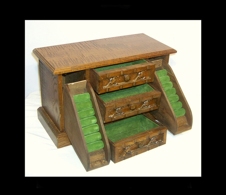 Large solid wood jewellery box ~ hand carved ~ green felt ~ jewelry trinket necklace bracelet ring brooch ~ 3 drawers ~ Pat Yoshikawa Japan