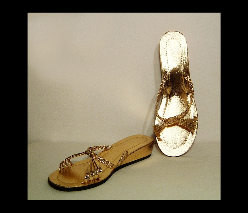 Size 7 ~ 1960s yellow gold wedge heel sandals slides ~ strappy low heel sparkly mules shoes ~ shiny bright metallic ~ vegan~ 7.5