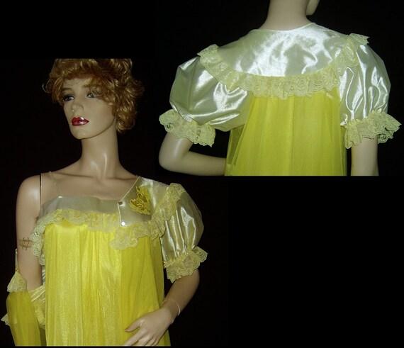 70s canary yellow nylon chiffon peignoir Medium ~