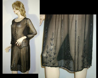 Medium Large ~ 1920s dress - black sheer silk chiffon ~ drop waist tabard ~ medallion & vines ~ work of textile art
