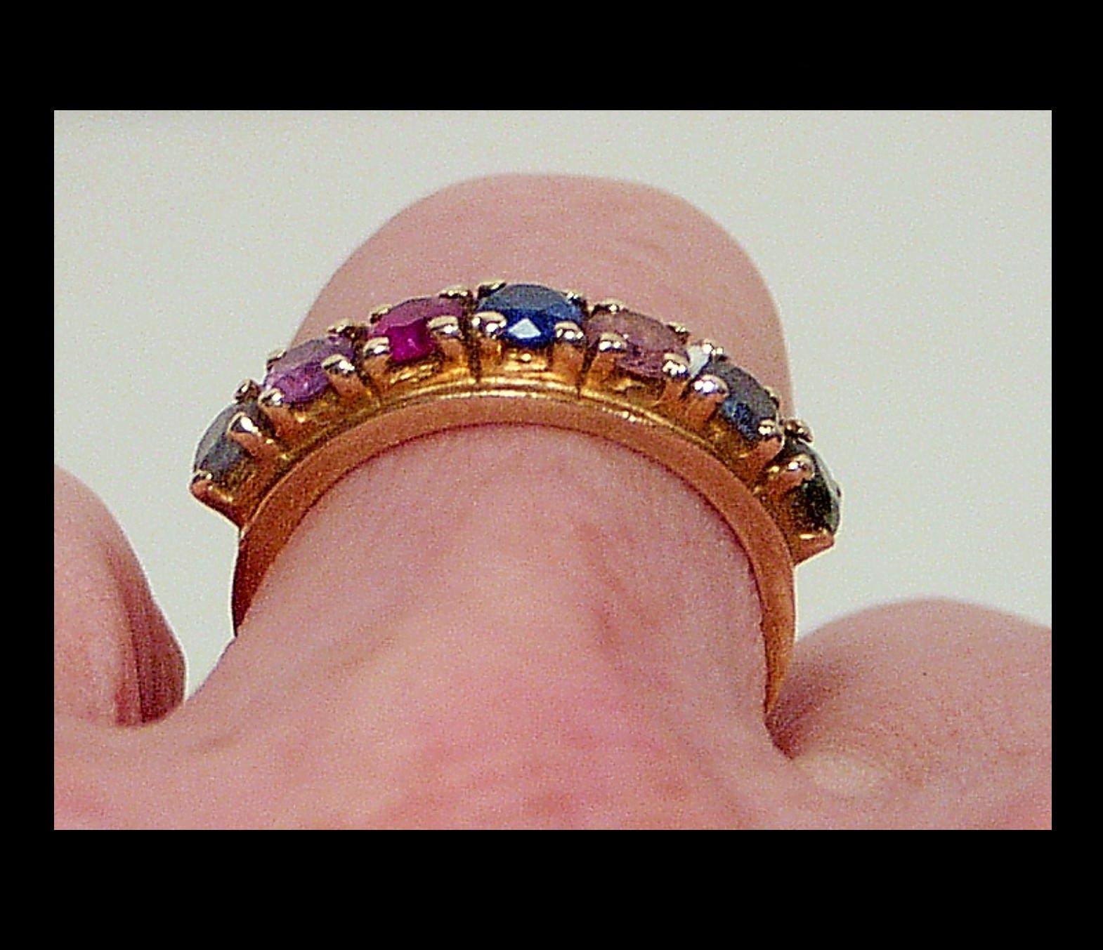 10k yellow gold 7 gemstone semi eternity ring band size 6 | Etsy