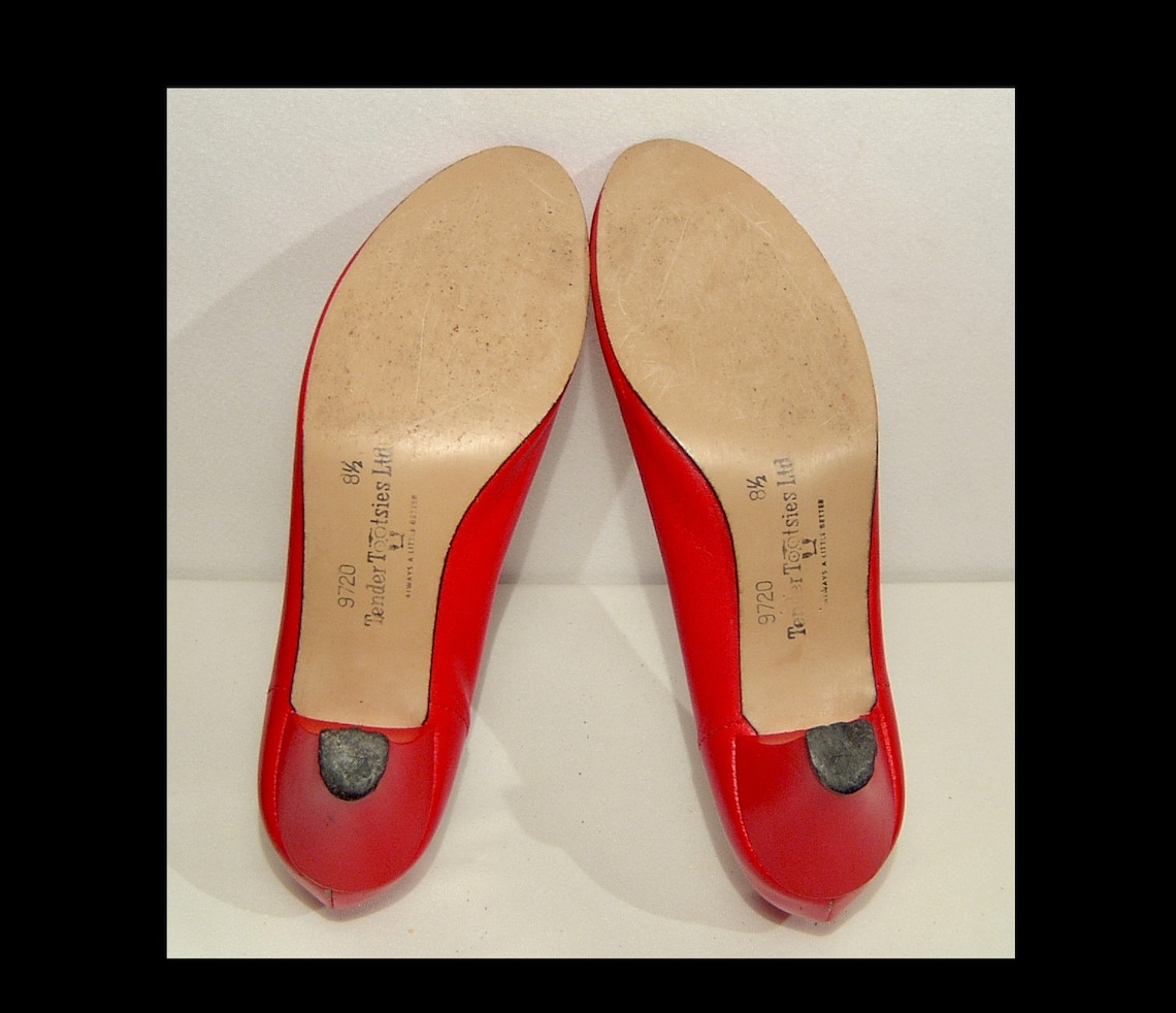 Size 8 Lipstick Red Leather Shoes 1960s 1970s Pumps By - Big Sale fBvN5