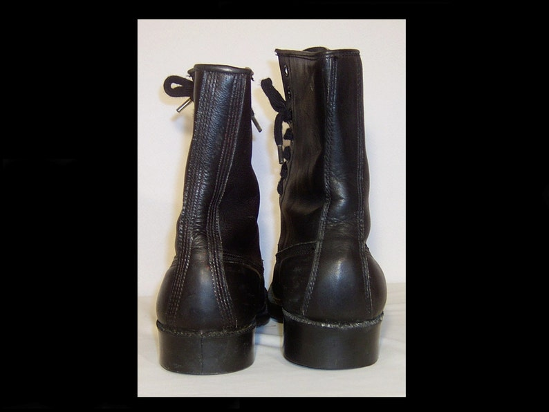 9484d4a9c533f Black leather hi-top boots men 5 women 7.5 10i high work   Etsy