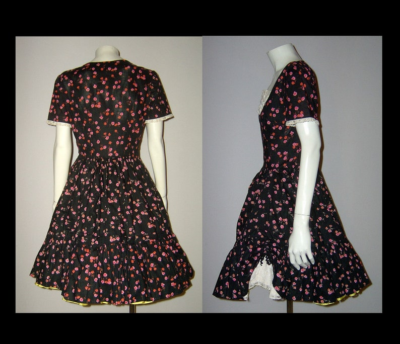 XS Small ~ jet black pink cotton rosebud print dress with white lace godet inserts ~ hem ruffle ~ 1950s 1960s ~ floral party frock home made