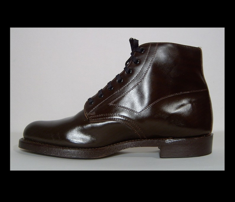 2f9d6d92fa9a0 Deadstock new 1960s 1970s dark brown leather ankle boots 12   Etsy