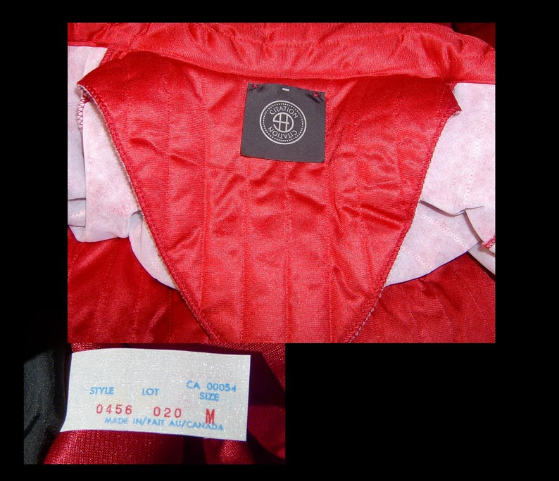 Lipstick red quilted satin robe ~ Medium Large ~ smocked long bombshell housecoat with snow white fleece ~ Citation Made in Canada 1970s