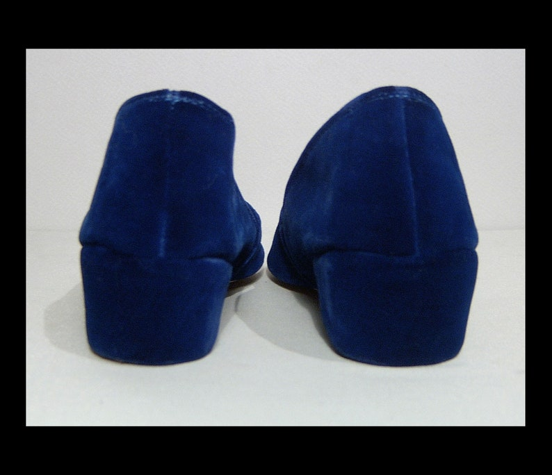 dfda30d8c8d30 Size 7 ~ women's sapphire blue velvet wedge heel slippers ~ Made in Canada  by Packard ~ 1950s slip on low heel ~ dark royal 50s shoes