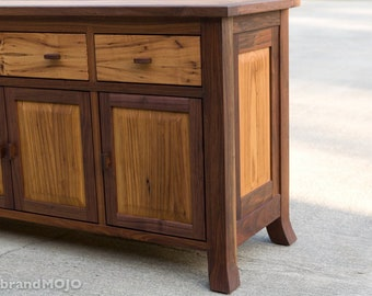 CUSTOM-Reclaimed Wood Sideboard- Rustic Console- Walnut Sideboard-Farmhouse Cabinet -Solid Wood Huntboard- Wood Hutch-brandmojo Interiors
