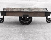 In Stock Factory Cart Coffee Table - Vintage Industrial - Grey weathered finish - solid table - wood wooden occassional iron all original