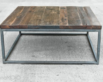 CUSTOM Reclaimed Wood Industrial Coffee Table- Steel Base- Brickmaker's Table-Rustic Wood-Shabby Chic-Vintage Industrial-brandmojo interiors