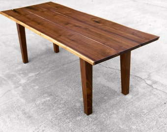 Custom Walnut Live Edge Dining Table With Tapered Legs Nakashima Inspired Table Farmhouse Dining Table Rustic Dining Reclaimed brandMOJO