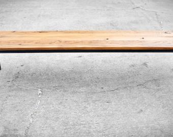 CUSTOM Salvaged Barnwood Coffee Table with Steel Base- Reclaimed Wood- Rustic Wood- Mid Century- Custom Built-brandmojo interiors