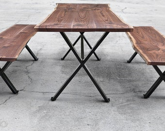 Custom Live Edge Walnut Dining Table/Benches With Steel Legs Natural Edge Table Black Walnut Dining Set Slab Dining Table