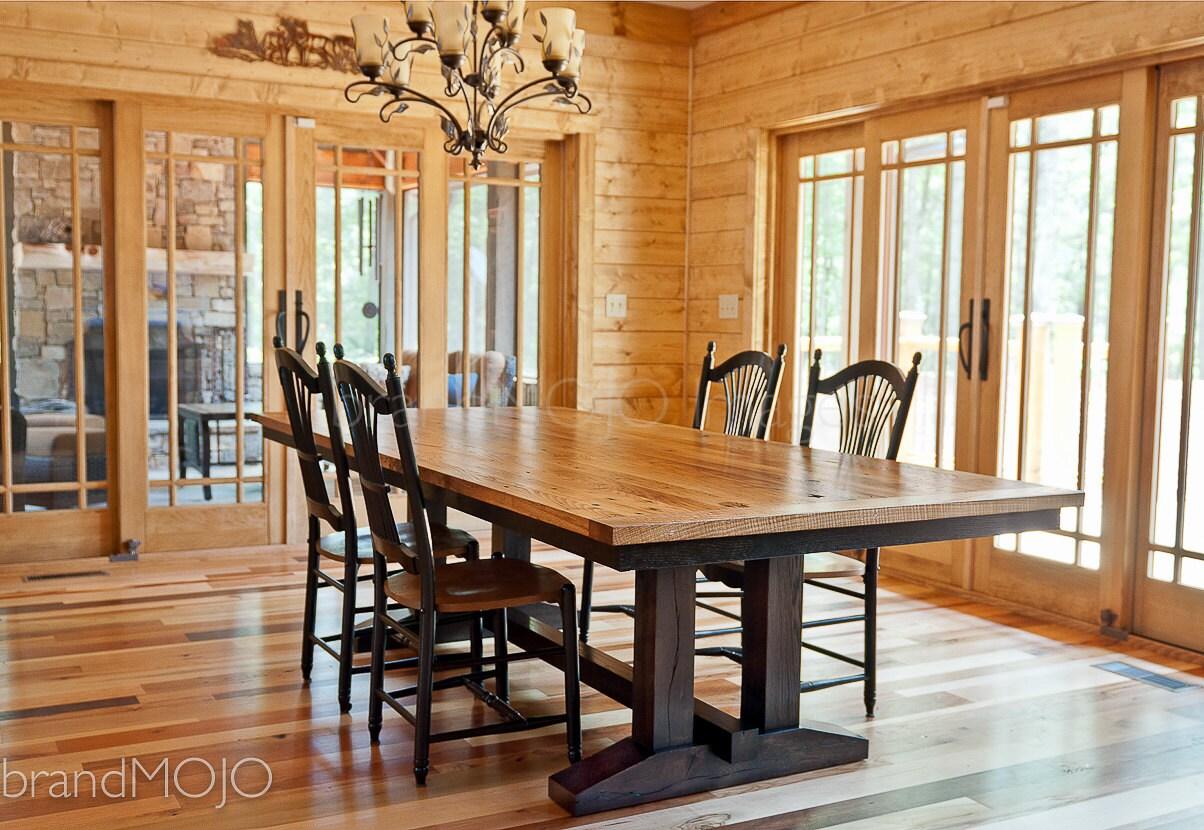 Phenomenal Custom Reclaimed Wood Dining Table Wormy Chestnut Barmwood Rustic Wood Farmhouse Table Trestle Table Custom Built Brandmojo Interiors Interior Design Ideas Gentotryabchikinfo