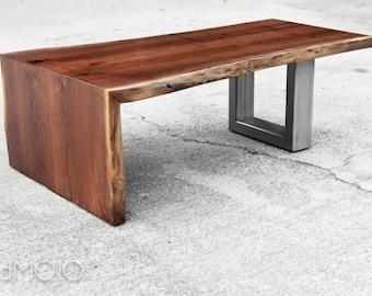 LIve Edge Walnut Coffee Table With Steel Base Live Edge Table Natural Edge Table Steel Based Coffee Table Custom Live Edge brandmojo