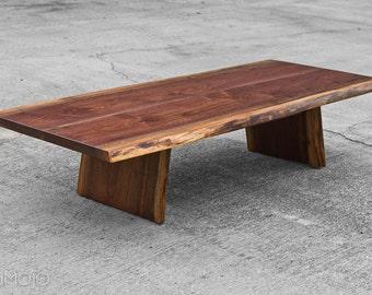CUSTOM  Live Edge Coffee Table -Meditation Bench - Asian Inspired - Live edge Walnut - Occassional table - Walnut Coffee Table