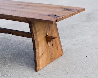 CUSTOM Live Edge Coffee Table-Trestle Table-Mid Century Coffee Table-Rustic Wood-Organic Modern-Nakashima Atyle-brandmojo interiors