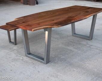 CUSTOM Live Edge Walnut Dining Table With Steel Legs-Nakashima Style-Mid Century-Rustic Wood-Natural Edge-Steel Base-brandmojo interiors