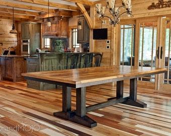 CUSTOM Reclaimed Wood Dining Table- Wormy Chestnut-Barmwood-Rustic Wood- Farmhouse Table-Trestle Table-Custom Built-brandmojo interiors