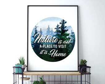 Nature is not a Place to Visit it is Home (Printable Art Quote) Art of Mindfulness - Nature printable art, Adventure Outdoors Woodland Art