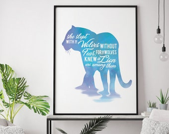 She slept with wolves without fear, for the wolves knew a Lion was among them (Printable Art Quote) Art of Mindfulness / Positive Thinking