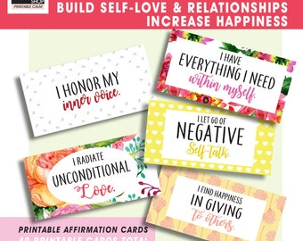 Build SELF-LOVE and Relationships / Increase HAPPINESS (40 Affirmation Printable Cards) Qnty 4 - 8x10 inch pages