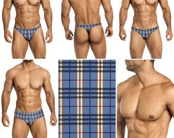 Blue and Tan Gingham Swimsuits for Men by Vuthy Sim.  Choose Thong, Bikini, Brief - 198
